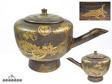 Large Japanese Meiji / Edo Tokugawa Taka Maki-e Gold Lacquer on Wood Teapot