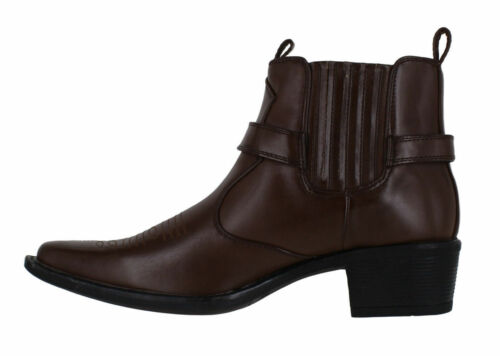 Brown Boots Ankle Heel Men's Cowboy Us Eastwood Short Brass Classic UqpEx1