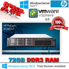 HP Proliant DL380 G7 2x 2.93Ghz HexCore X5670 Xeon 72GB DDR3 2 x 146GB SAS 15K