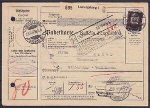 DR-Mi-Nr-422-EF-Auland-Paketkarte-Ludwigsburg-Winterthur-Schweiz-1929
