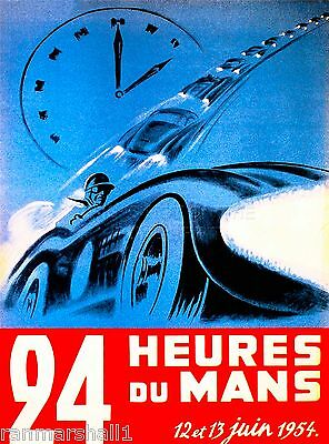 1954 24 Hours Le Mans French Automobile Race Advertisement Vintage Poster 3