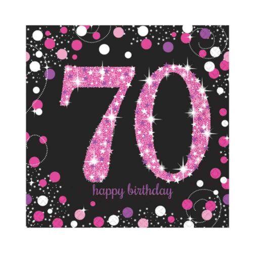 16 X Rose Célébration Âge 70 Serviette Rose & Noir 70ème Anniversaire Serviette