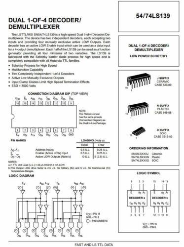 DUAL 1-OF-4 DECODER// DEMULTIPLEXER 74LS139 IC DM74LS139N SN74LS139N 2 pcs