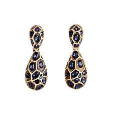 Boucles d`Oreilles Clou Petit Goutte Bleu Marine Fin Art Deco Vintage XX 8