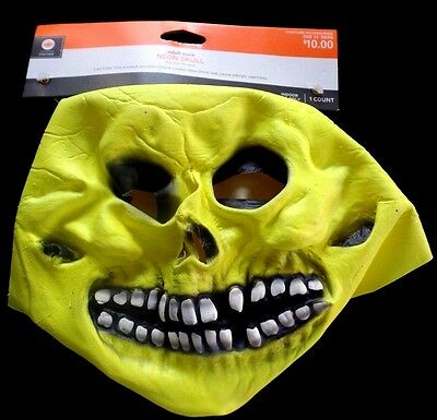 mens ADULT SIZE NEON YELLOW HALLOWEEN MASK COSTUME WEAR SKULL TEETH GROSS NEW!!