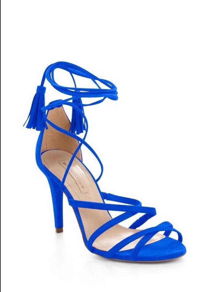 BCBGMAXAZRIA Lenita Daim Lanières Sandale Neuf avec étiquettes 7.5 37.5 Bleu Cobalt Chèvre Cuir