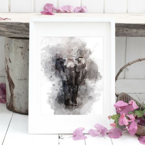 Elephant Wall Art *UNFRAMED* Fab Picture Gift A4 Watercolour Print