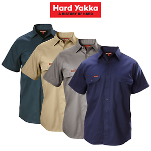 Mens-Hard-Yakka-Cotton-Drill-Work-Shirt-Button-Short-Sleeve-Workwear-Top-Y07510