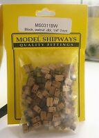 Model Shipways Fittings Ms 0311bw Walnut Dbl Block 1/4 (7mm) 150 Per Pk