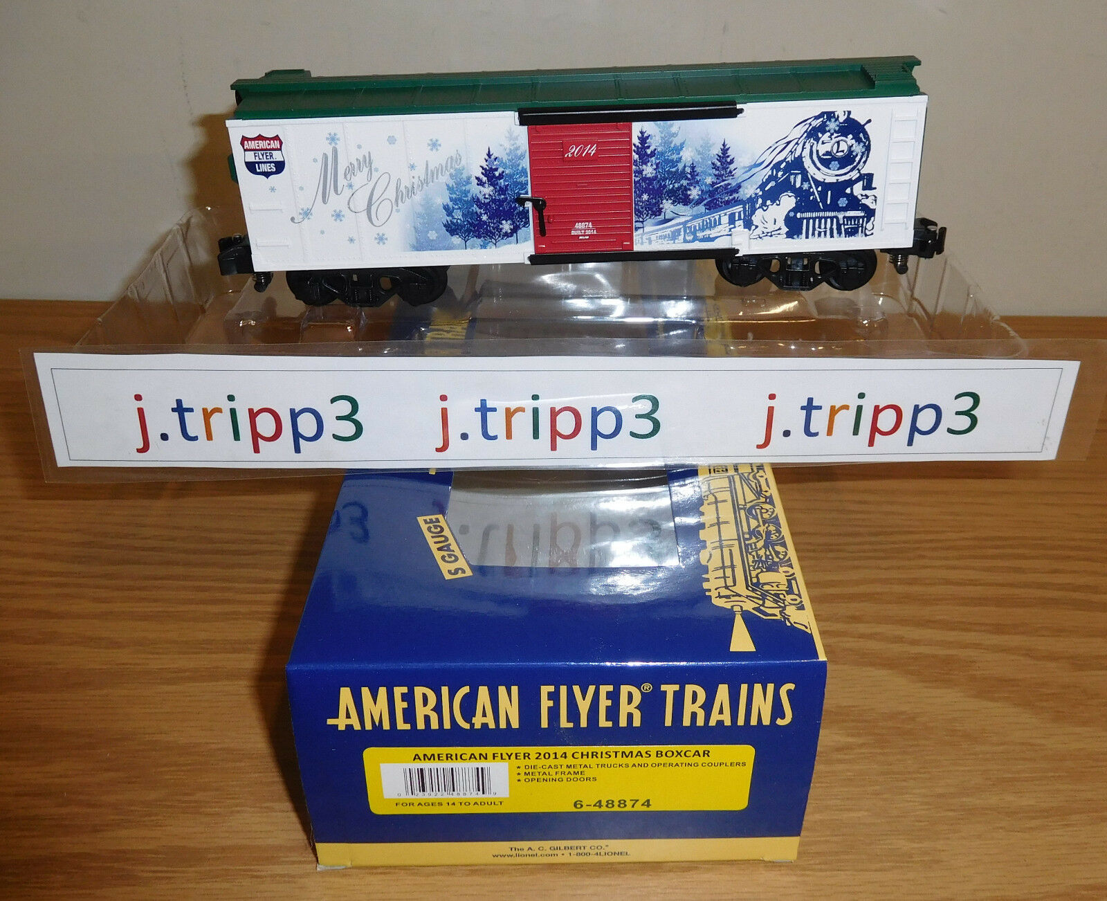 LIONEL AMERICAN FLYER 6-48874 CHRISTMAS 2014 BOXCAR TOY TRAIN S GAUGE FREIGHT