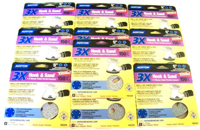 """30 NORTON 5"""" HOOK & LOOP SANDING DISCS 03229 5 & 8 HOLE 150 GRIT ORBITAL SANDER"""