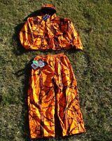Camo Blaze Orange Microfleece Waterproof Deer Hunting Pants & Jacket Set L