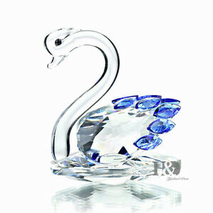 H-amp-D-3D-Blue-and-Clear-Crystal-swan-Figurines-Paperweight-Glass-Ornaments-Gifts