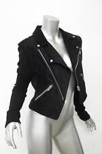 ALEXANDER WANG Womens Black Suede+Knit Sleeve Moto Motorcycle Biker Jacket 2