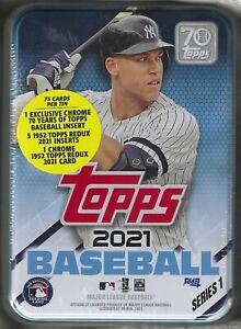 2021 Topps series 1 Baseball Aaron Judge Sealed tin 75 Cards inside With inserts