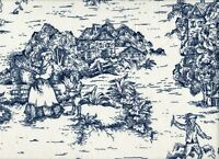 2 French Country Toile Nautical Blue Ruffled Standard Shams 100% Cotton