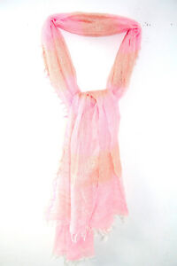 Delicate Baby Pink & Gold Thick Stripe Loose Weave Fringed Edge Wrap Scarf Verkaufsrabatt 50-70% ms16