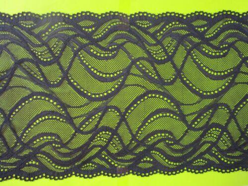 Elegant BLACK non-elastic Lace Trim 17cm wide Border great offer #51 ENg