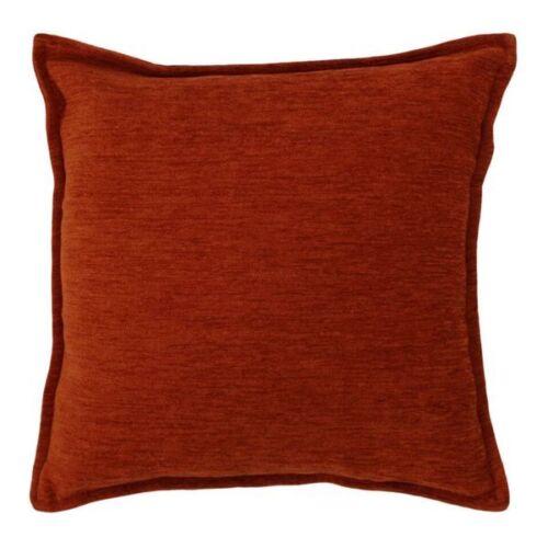 McAlister Textiles Plain Chenille Terracotta Orange Soft Woven Jacquard Cushion