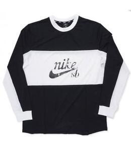 14f20d5c0 AA1073-010 Nike SB Dry Top Mesh Longsleeve T-Shirt Black White M-4XL ...