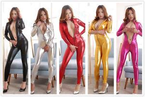 New-Sexy-Women-Latex-Bodysuit-Jumpsuit-Catsuit-Wet-Look-hide-corset-Bar-Dress