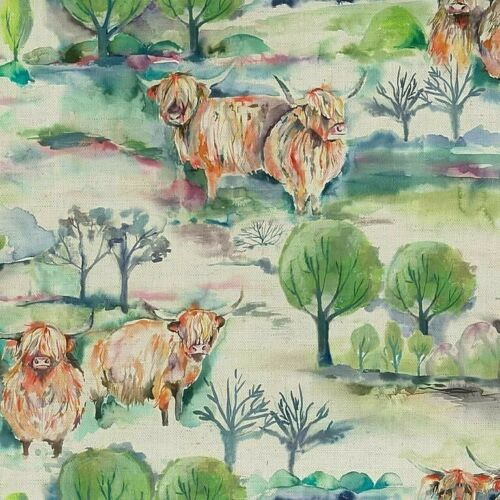 Voyage Maison Heilan Herd SageHighland Cow FabricPer MeterIn Stock