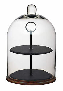 Details About Artesa 2 Tier Wood Slate Glass Dome Cake Centrepiece Serving Display Stand