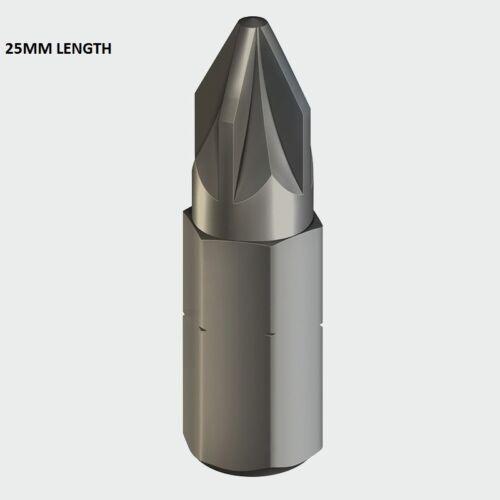 ADDAX HIGH QUALITY POZI 1 PZ1 x 25mm 50mm SCREWDRIVER INSERT DRIVER BITS S2 GREY