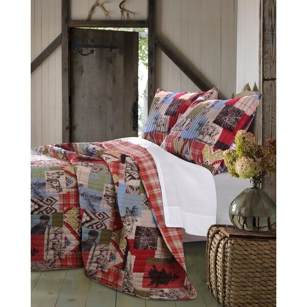 BEAUTIFUL PLAID COUNTRY HUNTING BEAR LOG CABIN WESTERN LODGE rot Blau QUILT SET