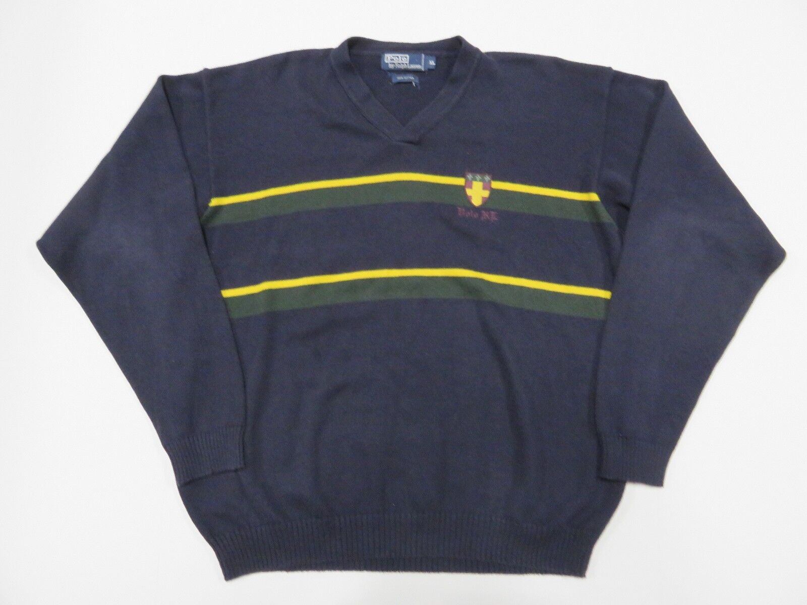 Polo by Ralph Lauren Blau Sweater With Stripes Adult Größe X-Large 100% Cotton