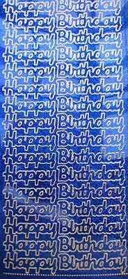 Stickers Happy Birthday Blue Holographic Glitter with Gold Embossed Edge NEW