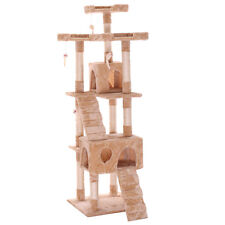"New 67""Cat Tree Tower Condo Furniture Scratching Post Pet Kitty Play House Beige"