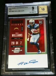 BGS 9/10 1/1 *MIKE WILLIAMS RC AUTO /75 *RED PRIZM ROOKIE *2017 Contenders Optic