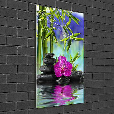 Wand-Bild Kunstdruck aus Hart-Glas Hochformat 50x100 Orchidee und Bambus