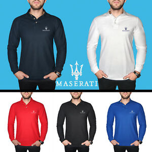 Maserati-Long-Sleeve-Polo-T-Shirt-COTTON-EMBROIDERED-Auto-Car-Logo-Mens-Clothing