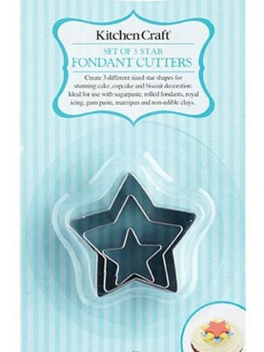 Stainless Steel Sweetly Does It Set of Three Stars Mini Fondant Cutters