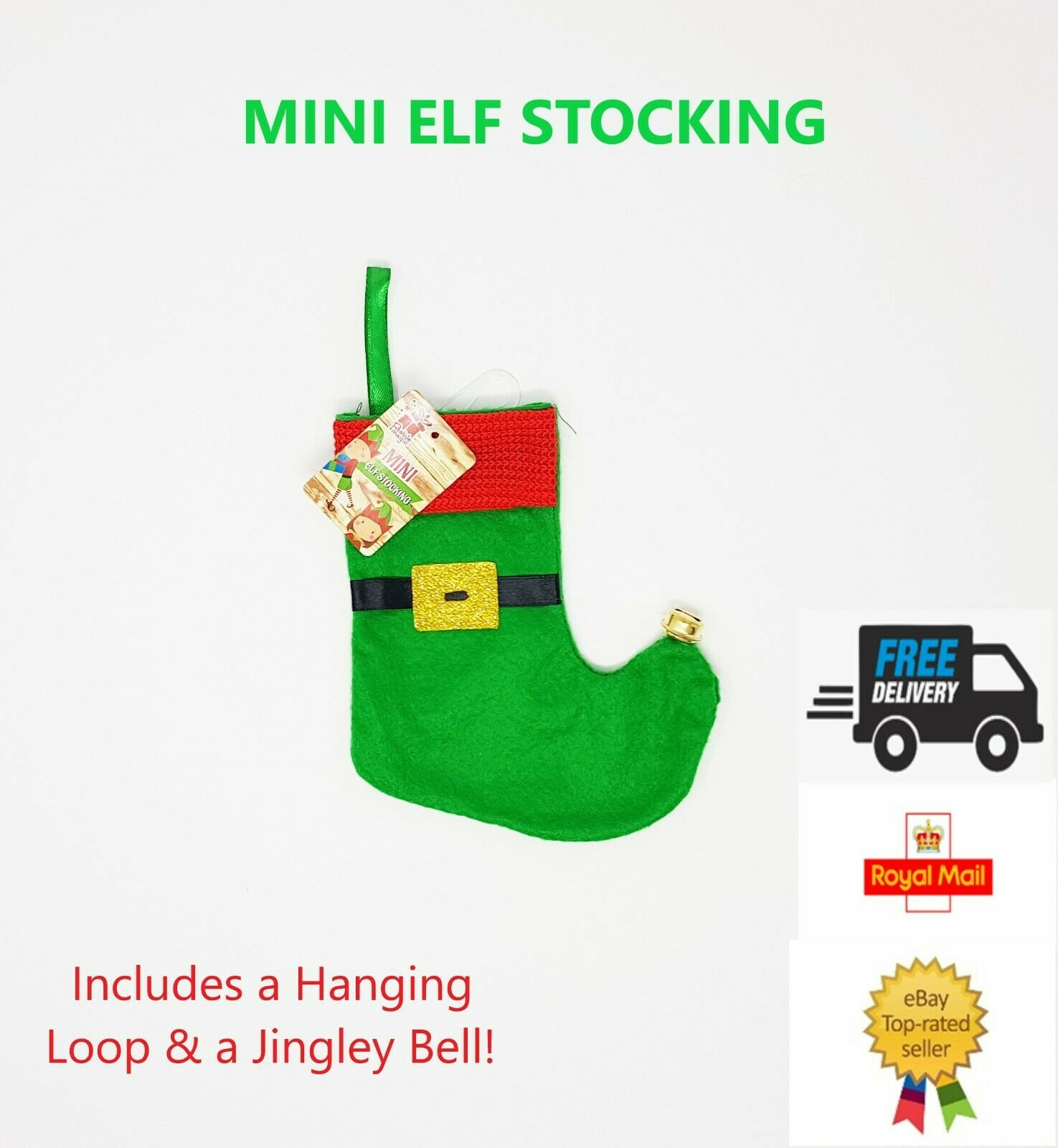 ELF MINI Stocking, with Bell & Hanging Loop XMAS FUN PARTY**Free P&P**