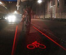 LASER LED LUCE BICI Corsia Bicicletta Notte Sicurezza Alta Visibilità CYCLE Proiezione