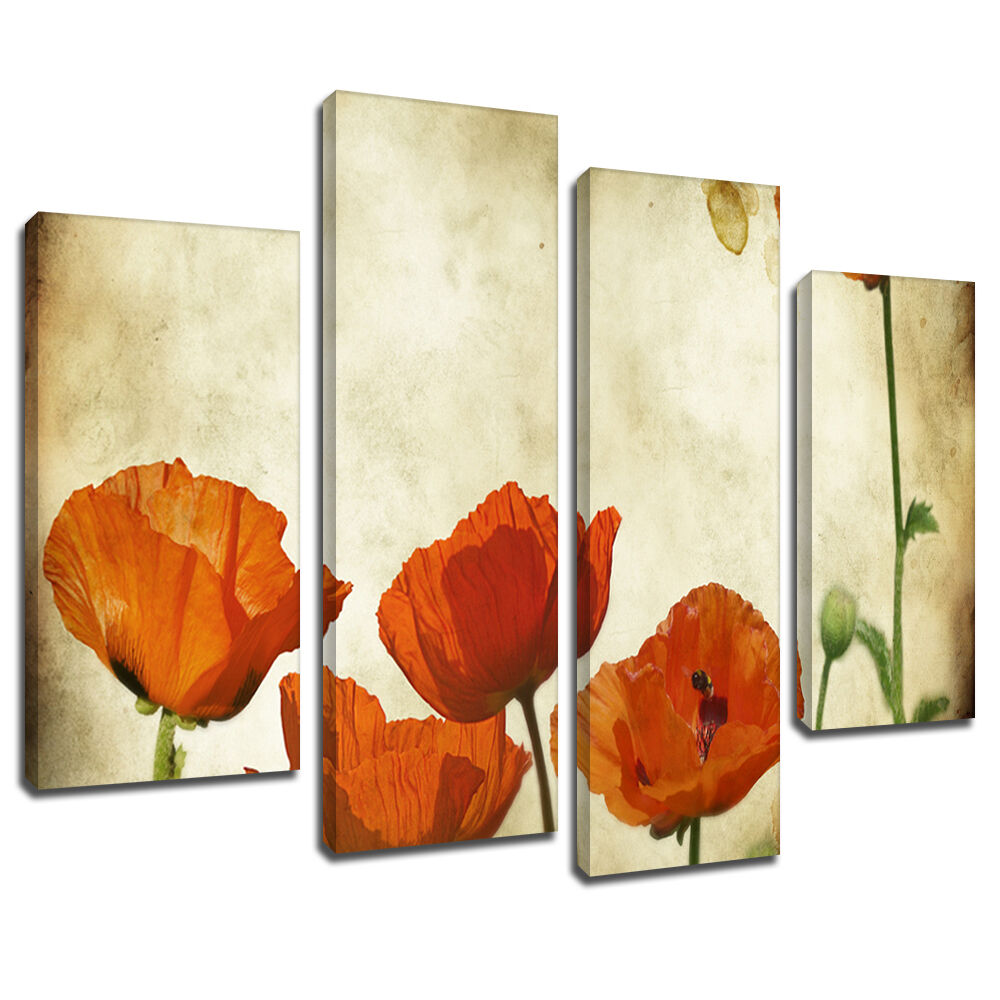 MSC257 Orange Poppies Sketch Canvas Wall Art Multi Panel Split Picture Print