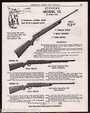 1954 STEVENS Model 15 Single Shot. 86 & 84 Repeating Bolt Action RIFLE AD