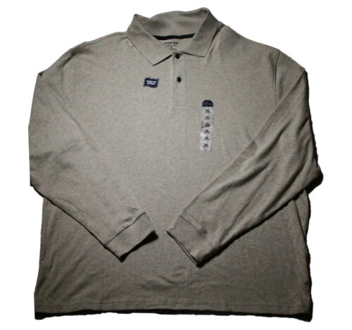 St John/'s Bay Solid Mens Jersey Soft Comfort Cotton Top Long Sleeve Polo Shirt