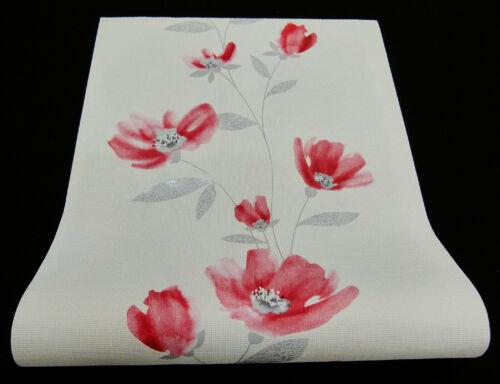 moderne Vliestapete 13488-30-519 Blumen-Design hellrot mit Glanz