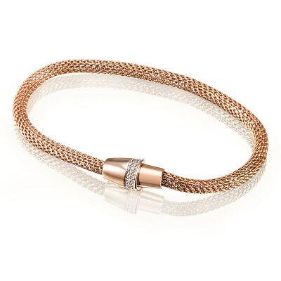 Armband 925 Sterlingsilber Schlauchkette vergoldet 42 weiße Zirkonia Magnet