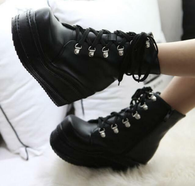 Women High Heel Wedge Mid Calf Boots Lace Up Platform Creepers Faux Leather shoes