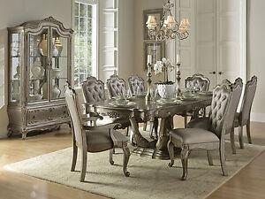 MEDIAN Traditional Silver Dining Room Set 9pcs - NEW Rectangular ...