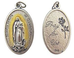 Gold-Silver-Tone-Our-Lady-of-Guadalupe-Rosary-Pectoral-Medal-Set-of-2-1-7-8Inch