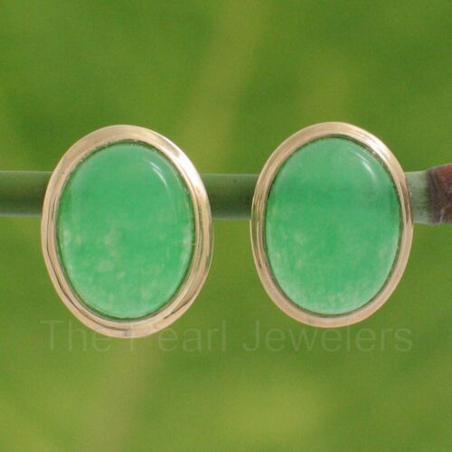 14k solide or jaune lunette Setting Oval Cabochon Vert jade boucles d/'oreille TPJ