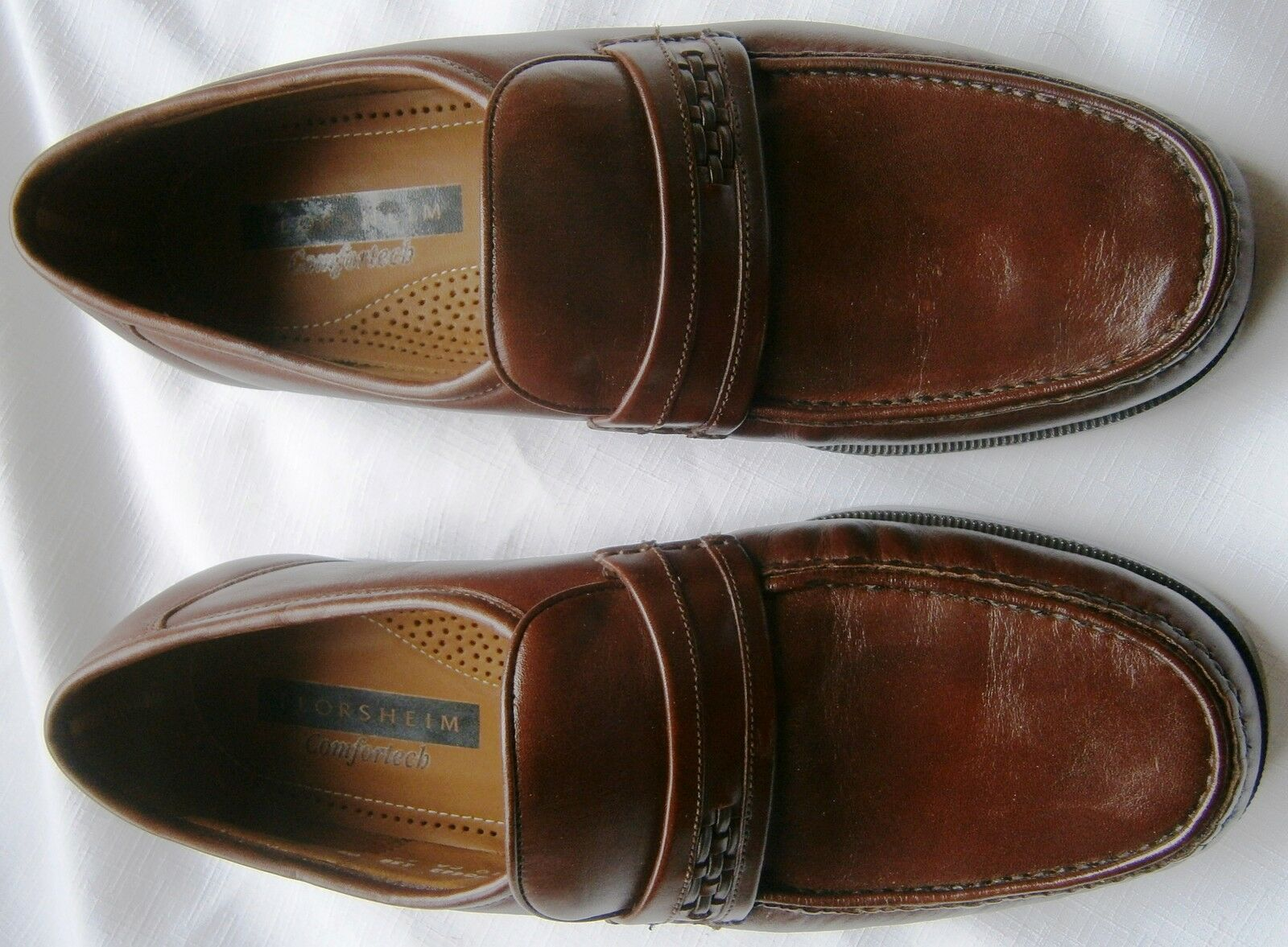 BRAND NEW Florsheim Comfortech Tan LEATHER Loafer Dress Scarpe Uomo 9 1/2 Med.