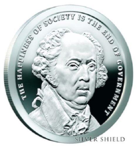 Presidents series #2 COA /& Box 2017 1 oz SBSS John Adams PROOF Silver Shield