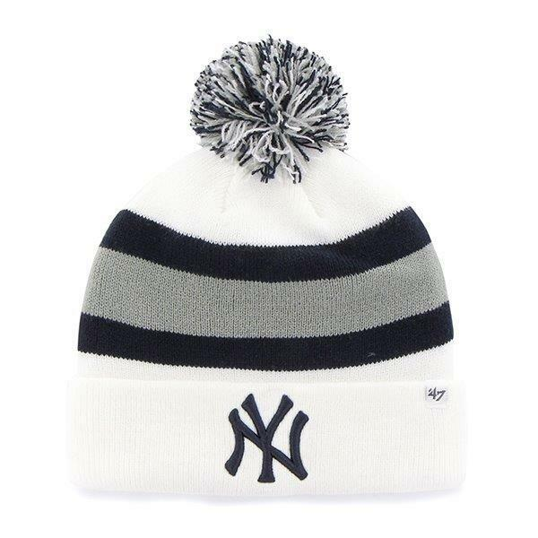 MLB  Wintermütze Wollmütze NEW YORK YANKEES NY Weiß cuffed cuffed cuffed knit hat Pommel 91dead